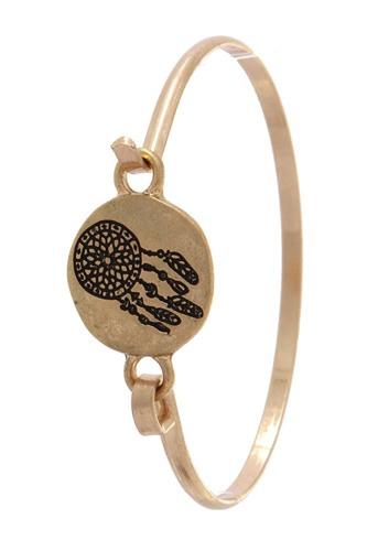 Dream catcher engraved cuff bracelet