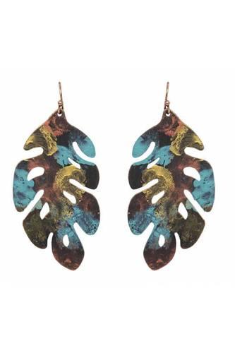 Patina leaf drop earring