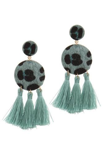 Double circle tassel post drop earring