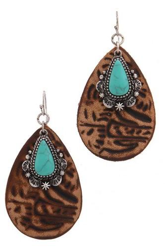 Leather tear drop shape earring
