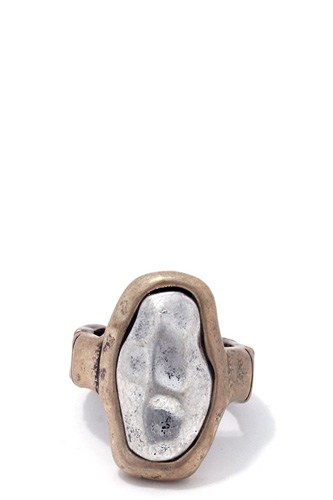Hammered two tone oval shape stretch ring