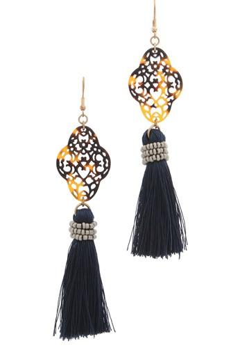 Acetate moroccan shape tassel drop earring