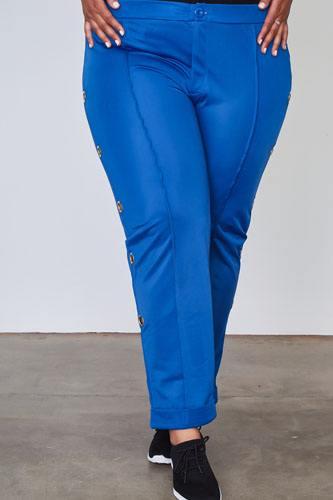 Ladies fashion plus size side metal grommet embellished pants