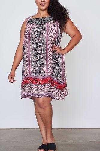 Ladies fashion plus size boho floral mix print sleeveless dress