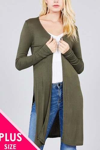 Ladies fashion plus size long sleeve open front side slit tunic length rayon spandex rib cardigan