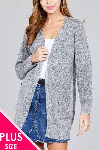 Ladies fashion plus size long sleeve open front w/pocket tunic sweater cardigan