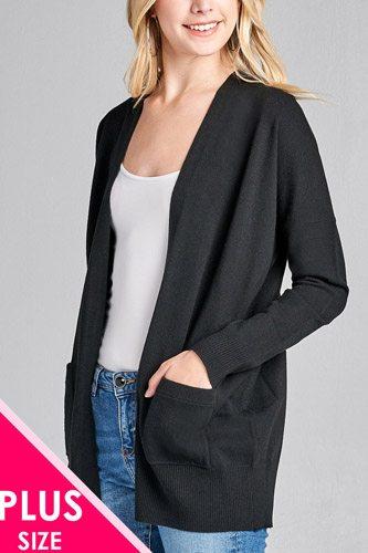 Ladies fashion plus size long dolmen sleeve open front w/pocket sweater cardigan