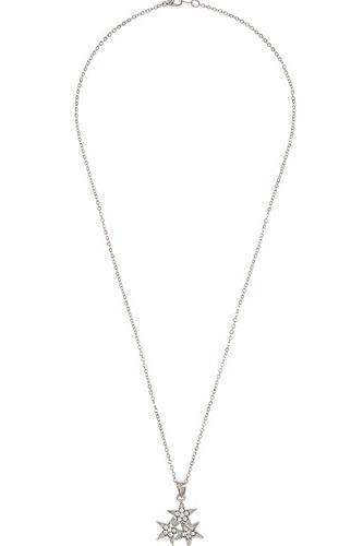 Triple rhinestone cluster star pendant necklace
