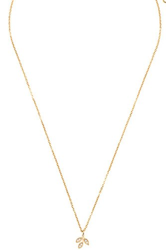 Cz stone leaf vine pendant necklace