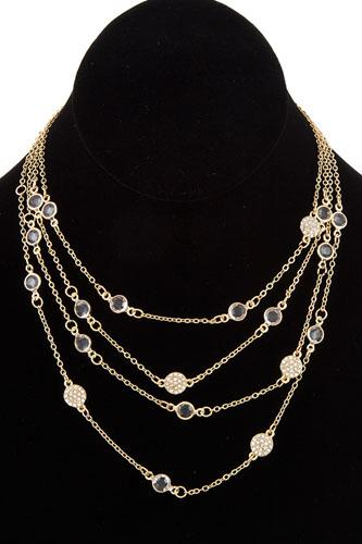 Multi layered crystal gem station necklace