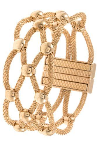 Woven ball bead accent mesh bracelet