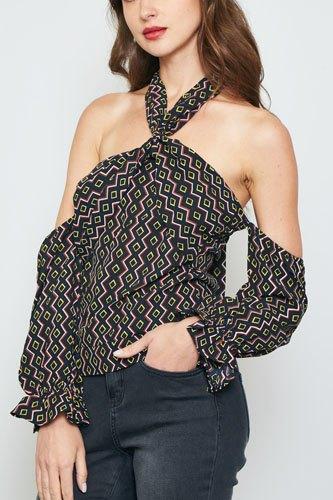 Ladies fashion geo print off the shoulder top