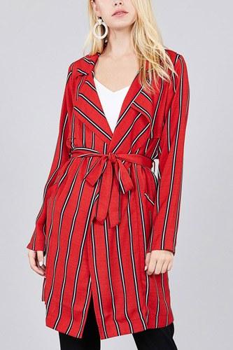 Ladies fashion long sleeve notched collar w/waist belt multi striped long woven jacket