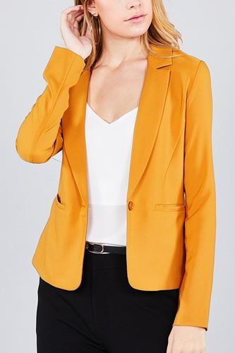 Ladies fashion long sleeve notched collar princess seam w/back slit jacket