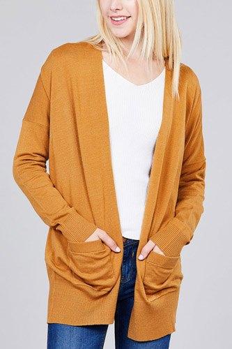 Ladies fashion long dolmen sleeve open front w/pocket sweater cardigan