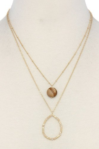 Beaded teardrop shape layered necklace