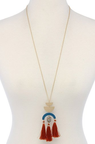 Half circle metal tassel pendant necklace