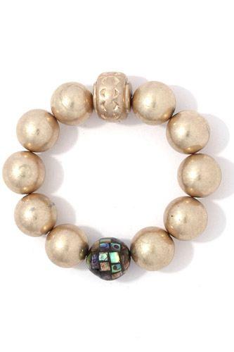 Metallic beaded stretch bracelet