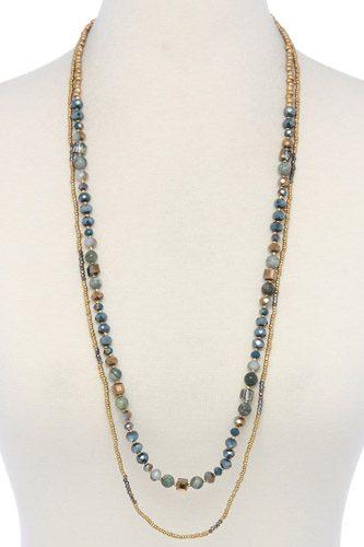 Semi precious stone beaded layered necklace