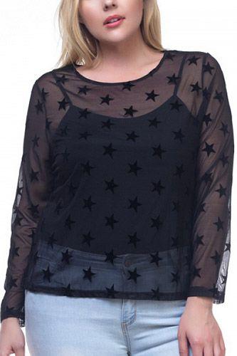 Ladies fashion plus size star mesh long sleeve shirt