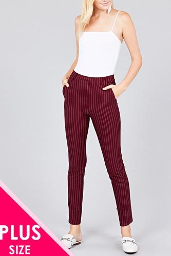 Ladies fashion plus size waist elastic stripe knit pants