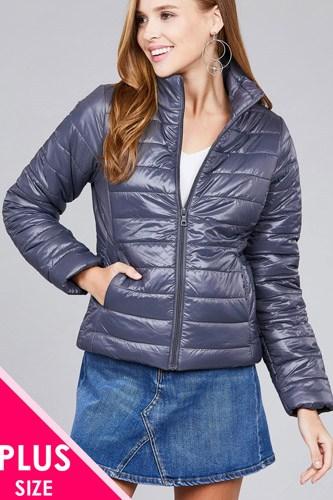 Ladies fashion plus size long sleeve quilted padding jacket