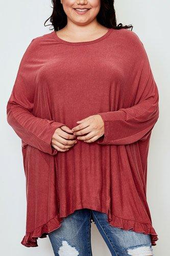 Ladies fashion plus size frill hem loose tunic top