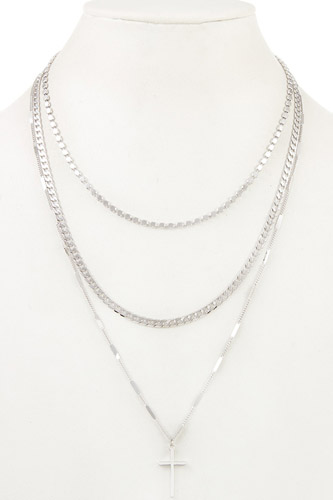 Mix chain layered cross pendant necklace