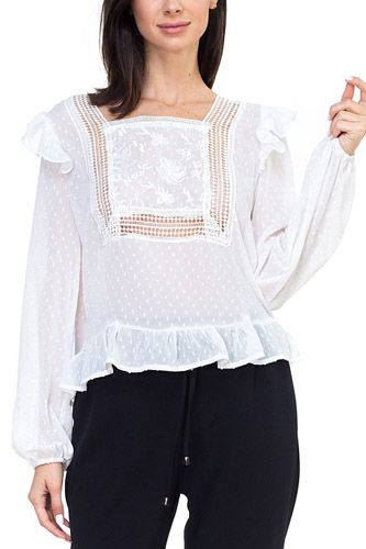 Lace trim swiss dot shirt