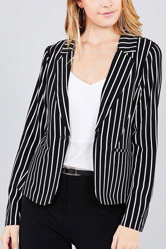 Long sleeve notched collar princess seam w/back slit striped jacket