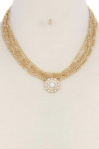 Pearl pendant multi strand short necklace