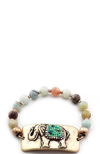 Fashion beaded elephant bracelet