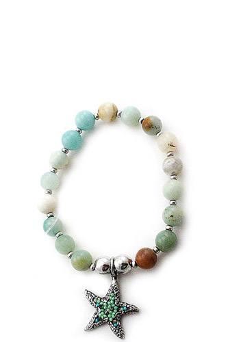 Star fish pendant beaded bracelet