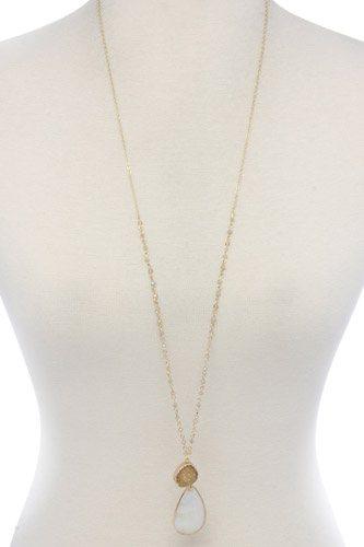 Druzy stone teardrop shape pendant necklace