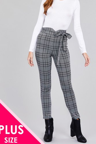 High waist self bow tie jacquard long pants