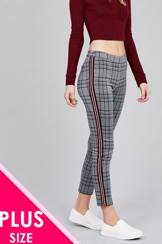 Side tape detail jacquard long pants