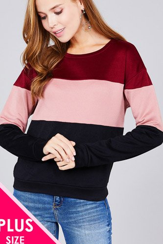 Long sleeve round neck color block pattern brushed french terry top