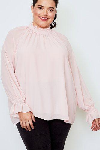 Plus size high neck ruffle long sleeve top