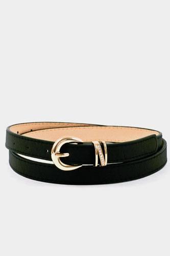 Buckle accent stitch belt