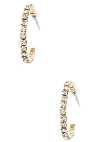 Rhinestone pave semi hoop earring