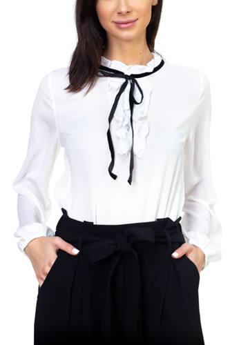 Ruffle mock pussycat bow shirt