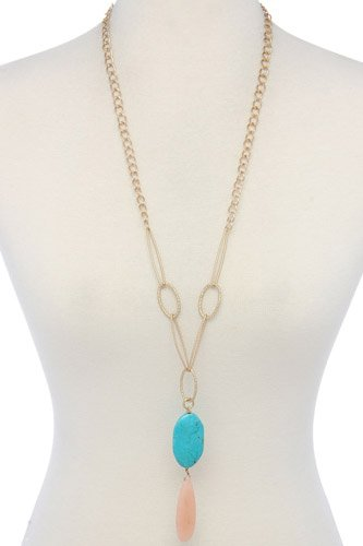 Natural Stone Metal Oval Shape Necklace