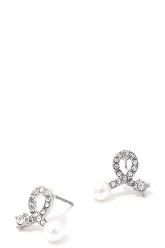 Rhinestone Bow Pearl Ended Stud Earring
