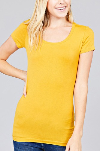Basic Short Sleeve Scoop-neck Tee