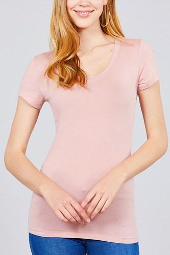 Basic Short Sleeve Scoop-neck Tee