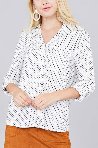 3/4 Roll Up Sleeve Front Patch Pocket Ot Print Rayon Challis Woven Shirt