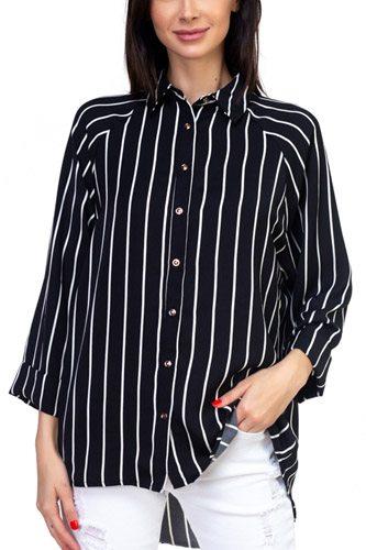 Stripe Snap Button Down Shirt