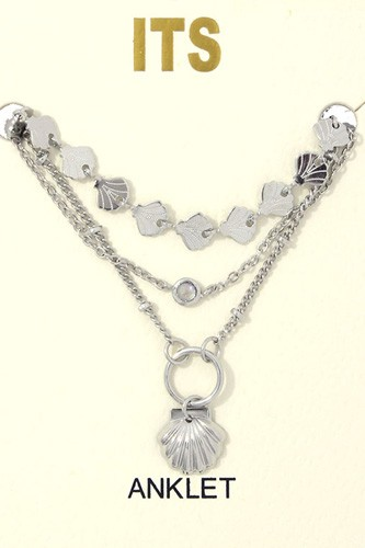 Seashell Charm Metal Layered Anklet