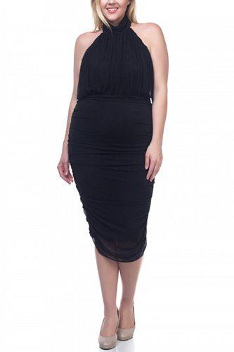 Halter Neck Sheer Midi Dress