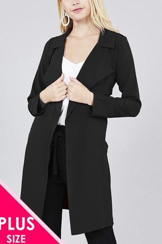 Long Sleeve Notched Collar W/waist Belt Long Jacket
